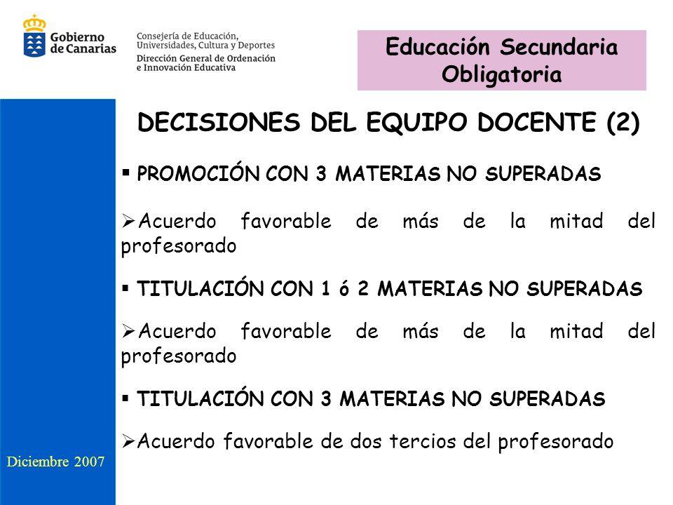 Educación Secundaria Obligatoria DECISIONES DEL EQUIPO DOCENTE (2)