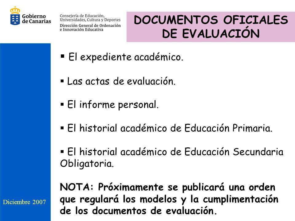 DOCUMENTOS OFICIALES DE EVALUACIÓN