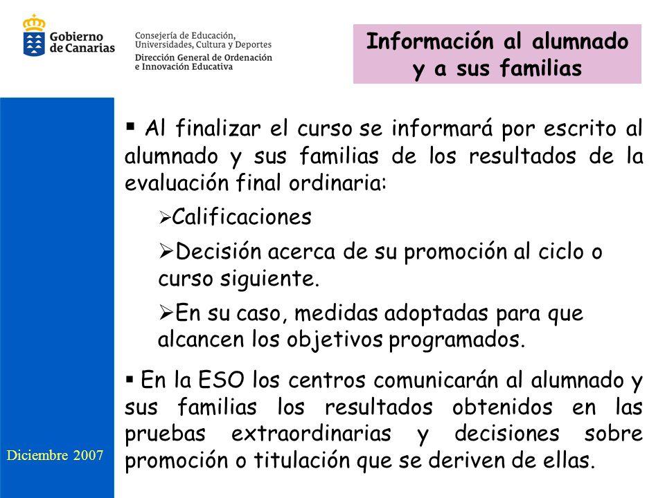 Información al alumnado y a sus familias