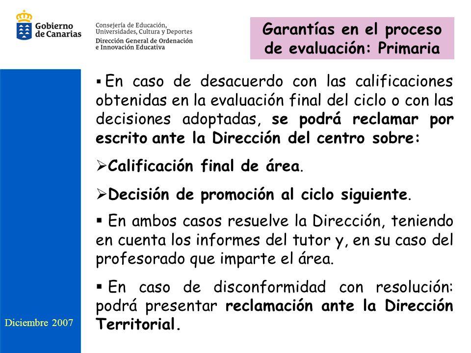 Garantías en el proceso de evaluación: Primaria