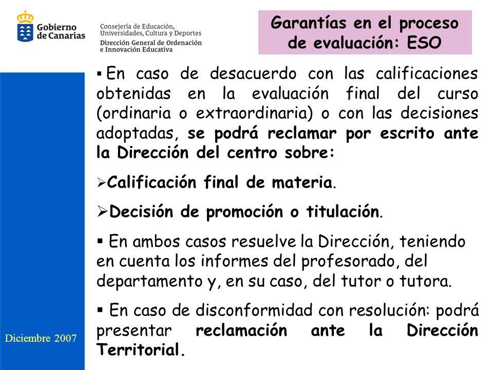 Garantías en el proceso de evaluación: ESO