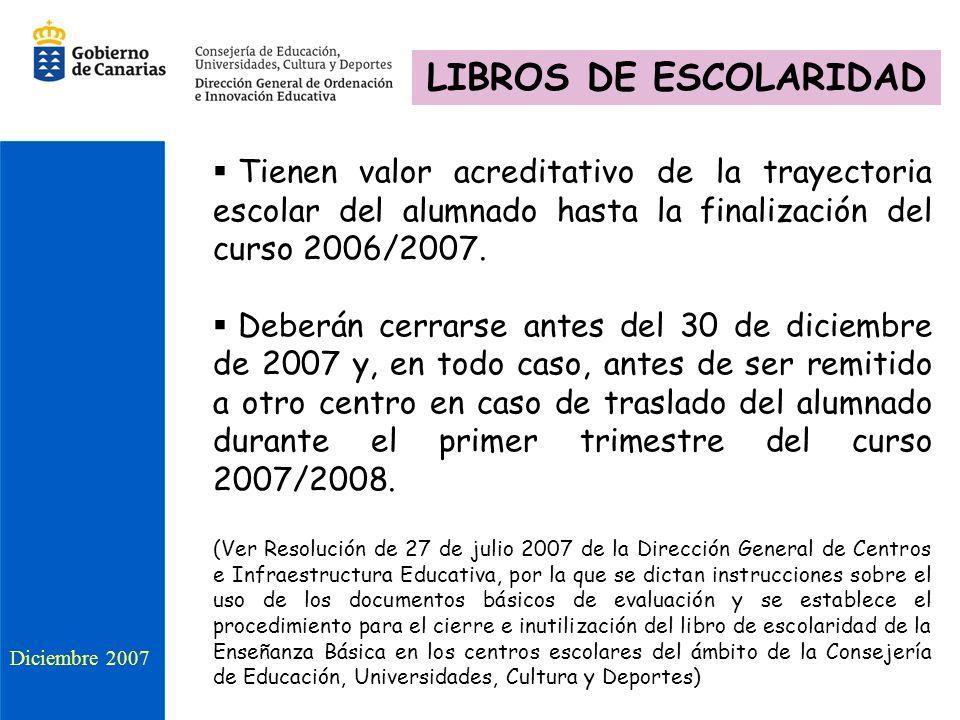 LIBROS DE ESCOLARIDAD Tienen valor acreditativo de la trayectoria escolar del alumnado hasta la finalización del curso 2006/2007.