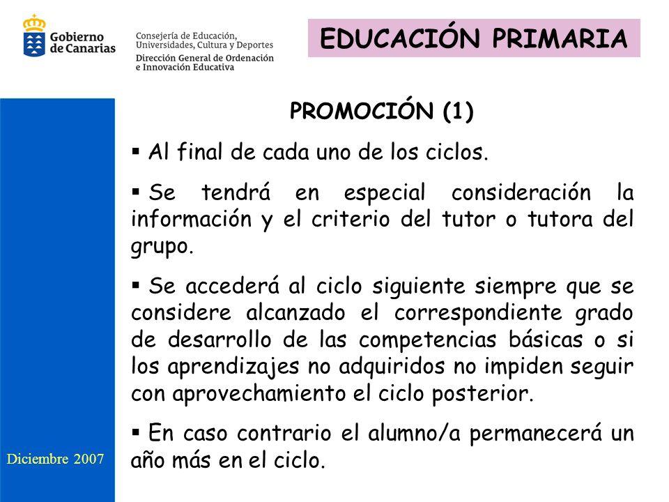 EDUCACIÓN PRIMARIA PROMOCIÓN (1) Al final de cada uno de los ciclos.