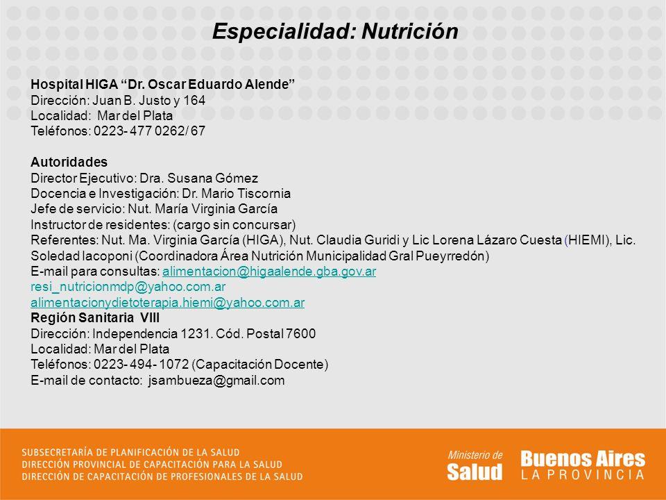 Especialidad: Nutrición