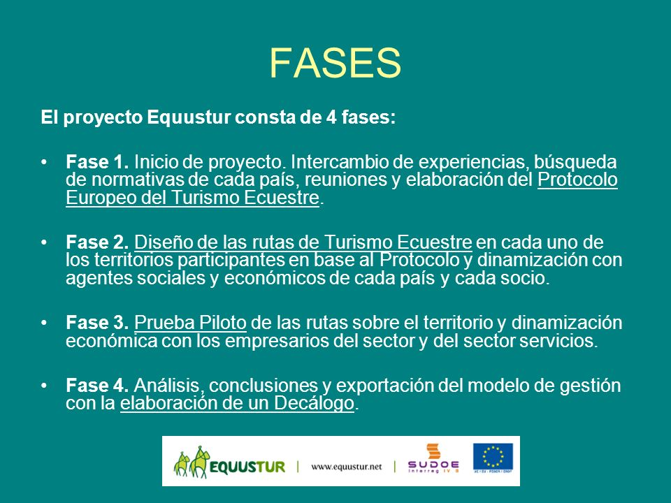 FASES El proyecto Equustur consta de 4 fases: