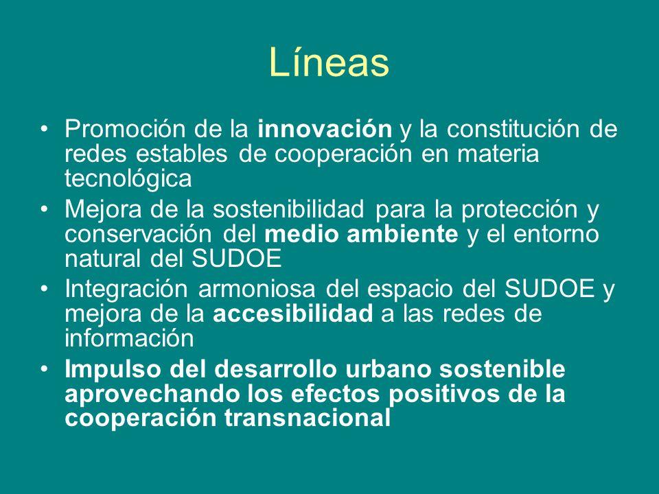 Líneas Promoción de la innovación y la constitución de redes estables de cooperación en materia tecnológica.