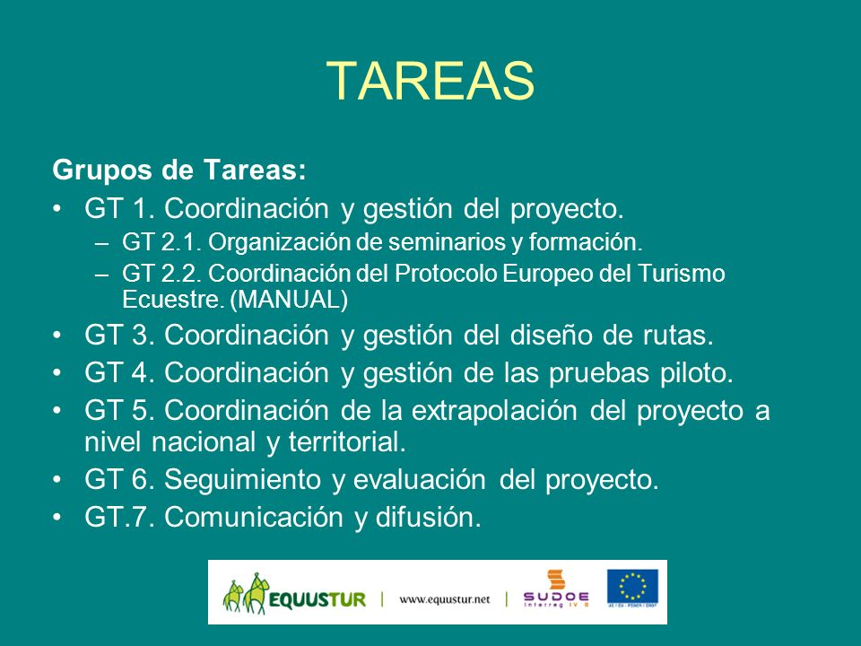 TAREAS Grupos de Tareas: GT 1. Coordinación y gestión del proyecto.