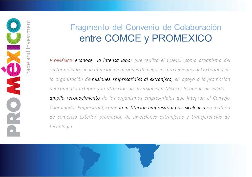 Fragmento del Convenio de Colaboración entre COMCE y PROMEXICO