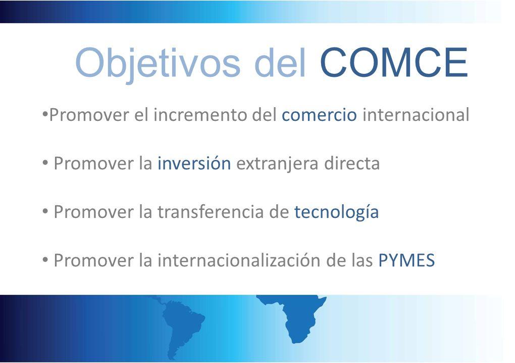 Objetivos del COMCE Promover el incremento del comercio internacional