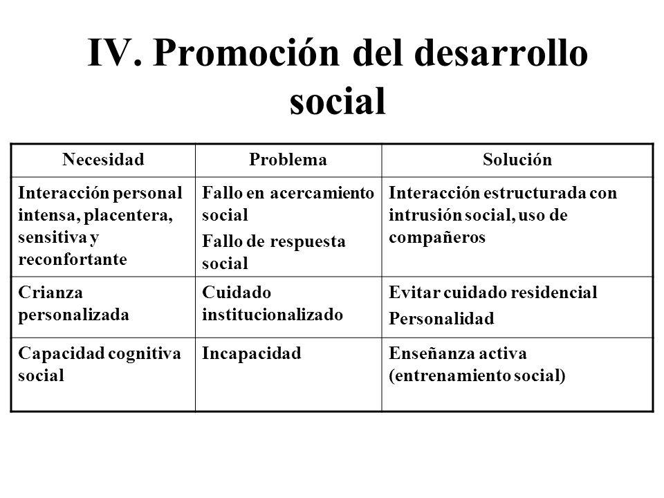 IV. Promoción del desarrollo social