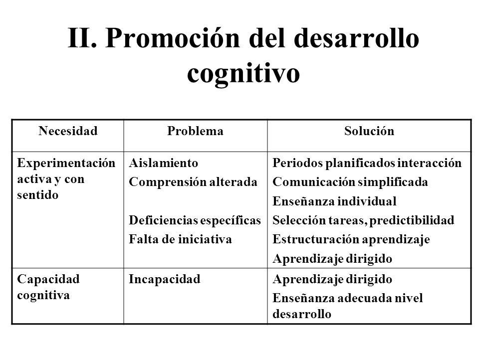 II. Promoción del desarrollo cognitivo