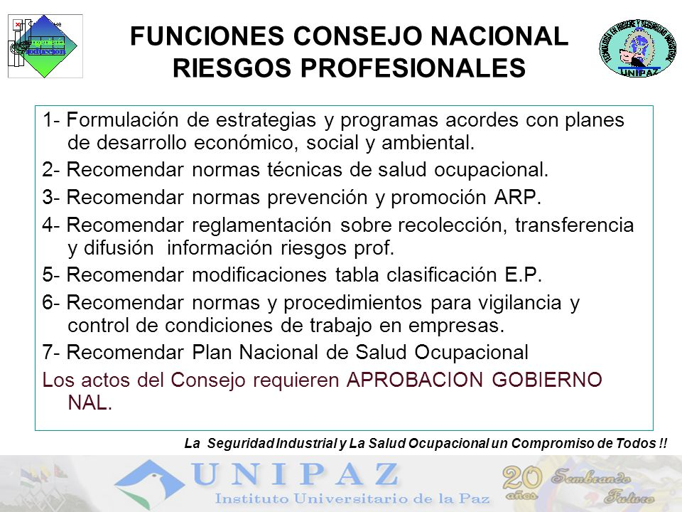 FUNCIONES CONSEJO NACIONAL RIESGOS PROFESIONALES