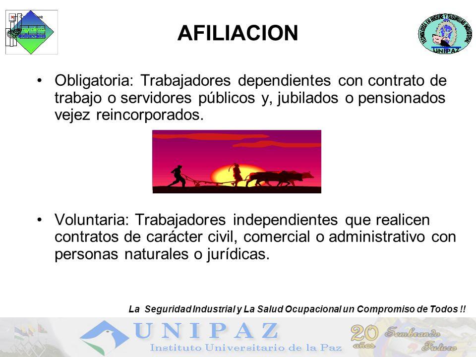 AFILIACION La Seguridad Industrial y La Salud Ocupacional un Compromiso de Todos !!