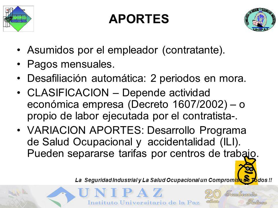 APORTES Asumidos por el empleador (contratante). Pagos mensuales.