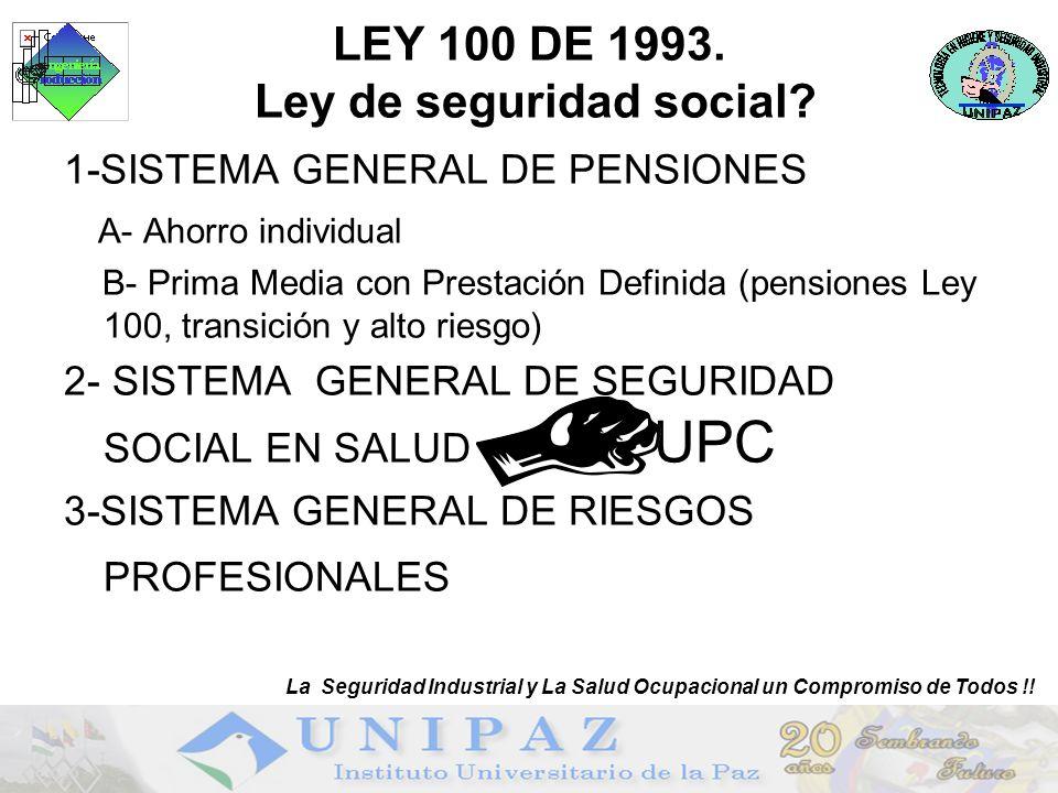 LEY 100 DE 1993. Ley de seguridad social