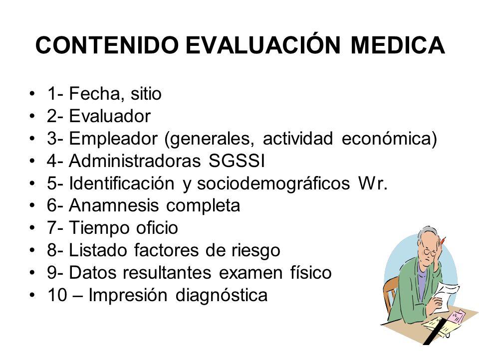 CONTENIDO EVALUACIÓN MEDICA