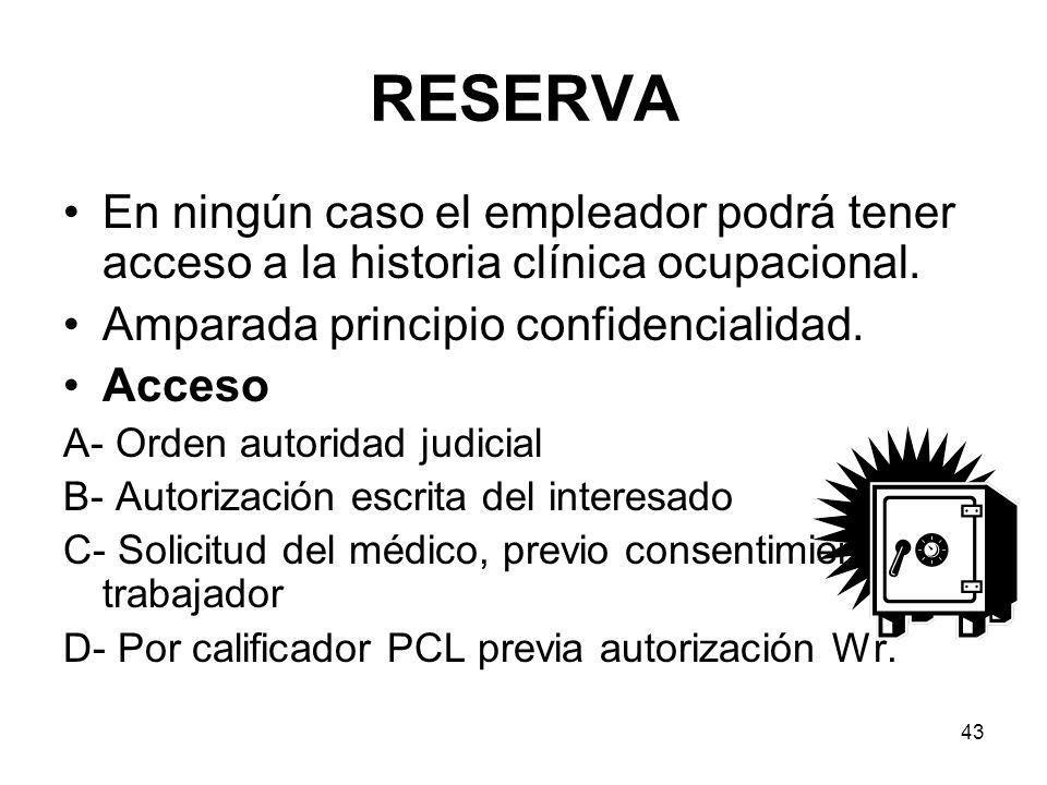 RESERVA En ningún caso el empleador podrá tener acceso a la historia clínica ocupacional. Amparada principio confidencialidad.
