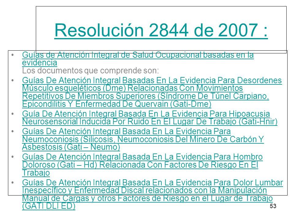 Resolución 2844 de 2007 : Guías de Atención Integral de Salud Ocupacional basadas en la evidencia Los documentos que comprende son: