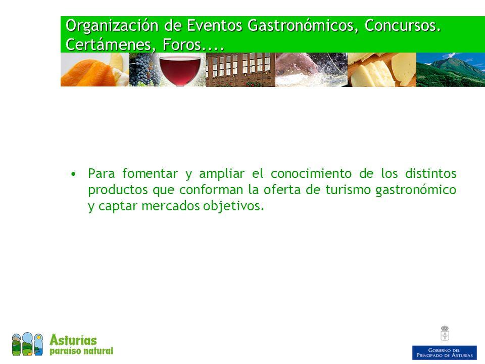 Organización de Eventos Gastronómicos, Concursos. Certámenes, Foros....
