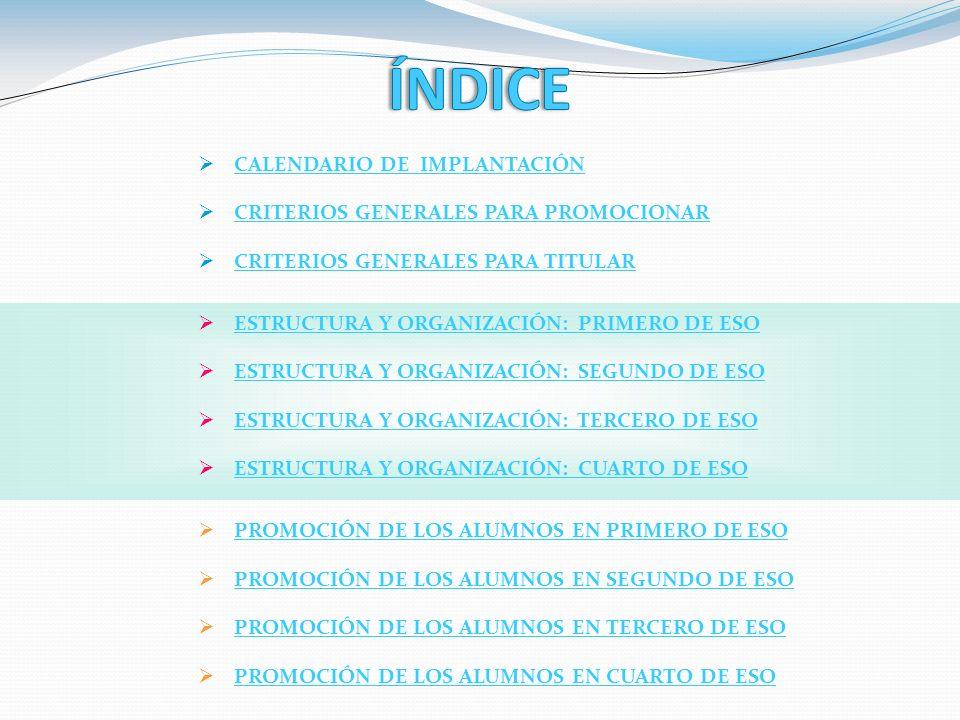 ÍNDICE CALENDARIO DE IMPLANTACIÓN CRITERIOS GENERALES PARA PROMOCIONAR