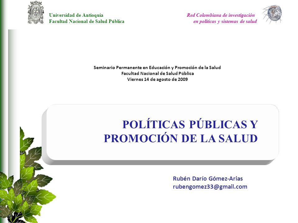 POLÍTICAS PÚBLICAS Y PROMOCIÓN DE LA SALUD