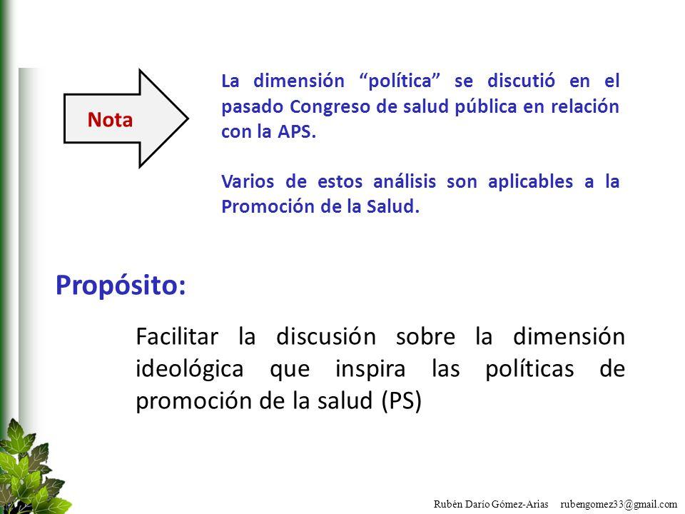 La dimensión política se discutió en el pasado Congreso de salud pública en relación con la APS.