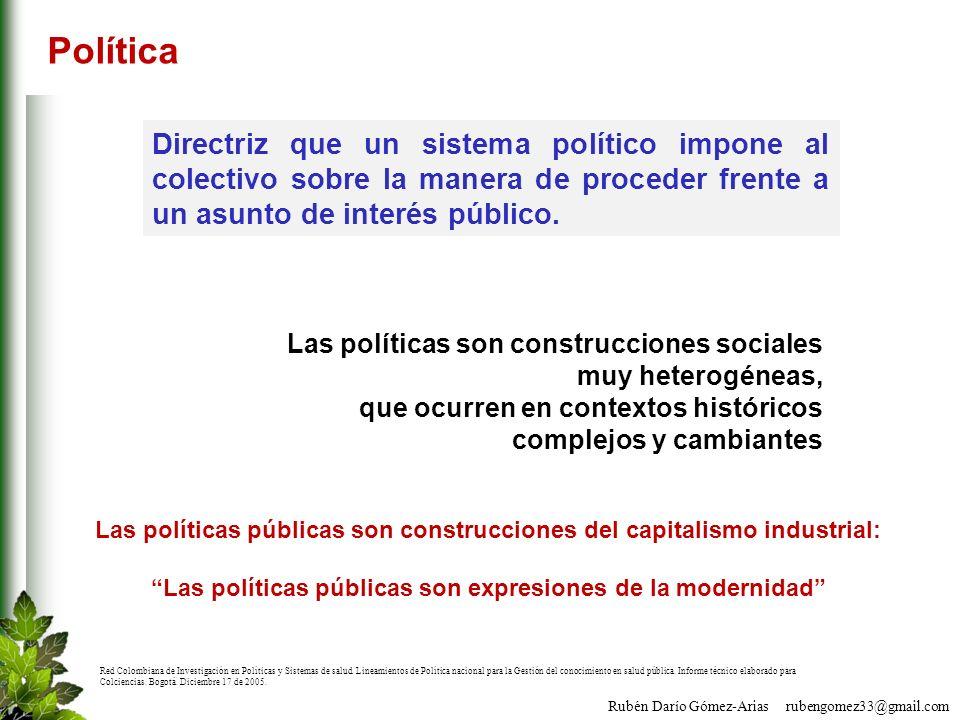 Política Directriz que un sistema político impone al colectivo sobre la manera de proceder frente a un asunto de interés público.