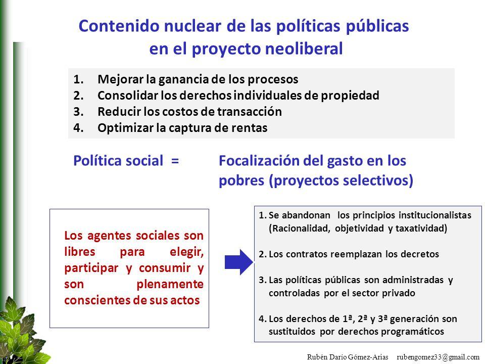 Contenido nuclear de las políticas públicas en el proyecto neoliberal