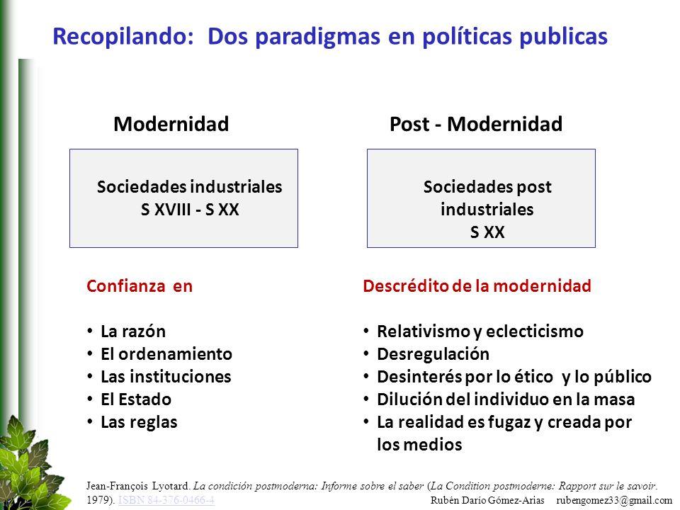 Recopilando: Dos paradigmas en políticas publicas