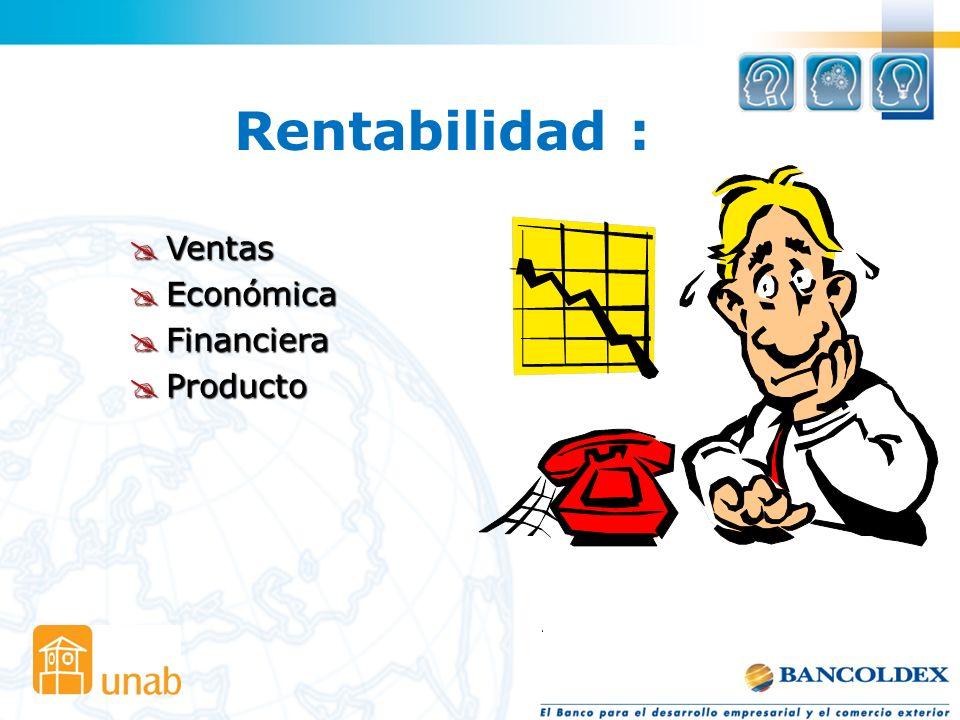 Rentabilidad : Ventas Económica Financiera Producto