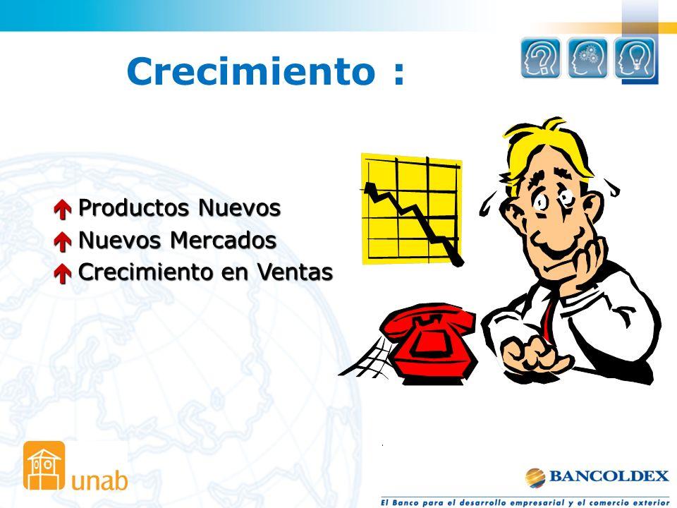Crecimiento : Productos Nuevos Nuevos Mercados Crecimiento en Ventas