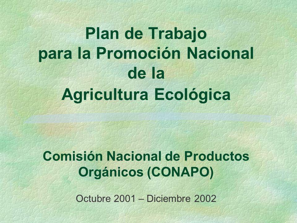 Plan de Trabajo para la Promoción Nacional de la Agricultura Ecológica Comisión Nacional de Productos Orgánicos (CONAPO)