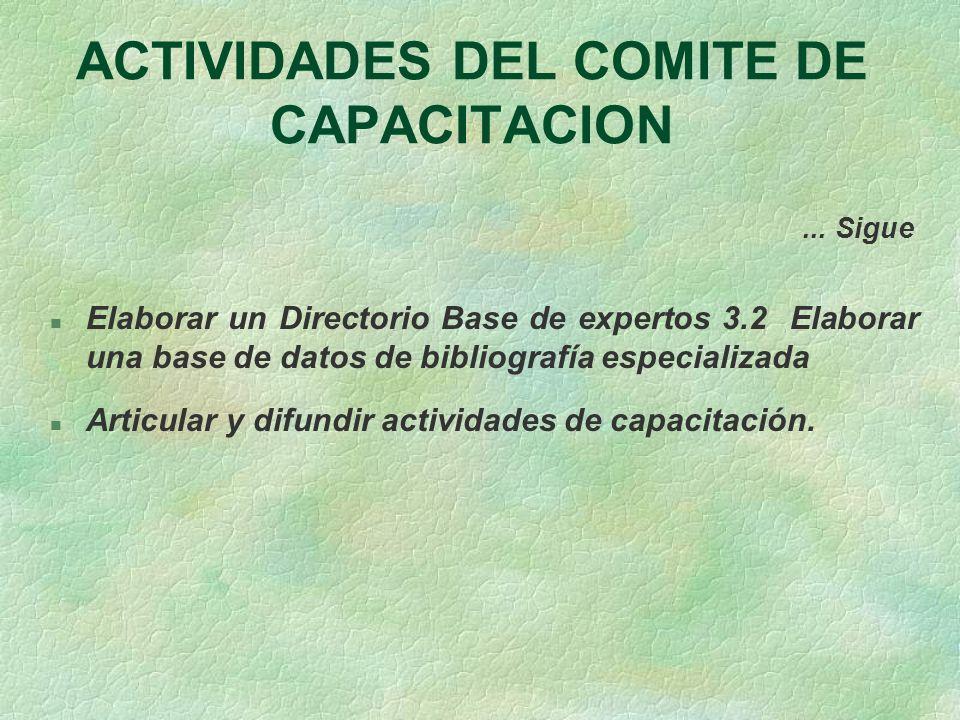 ACTIVIDADES DEL COMITE DE CAPACITACION