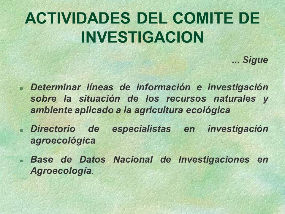 ACTIVIDADES DEL COMITE DE INVESTIGACION