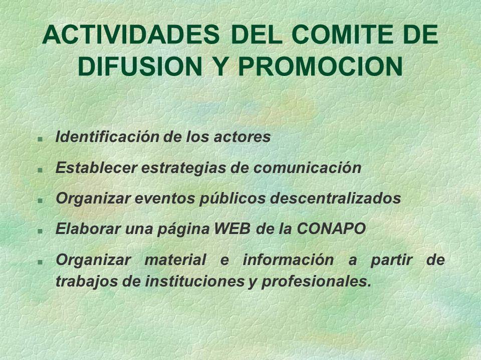 ACTIVIDADES DEL COMITE DE DIFUSION Y PROMOCION
