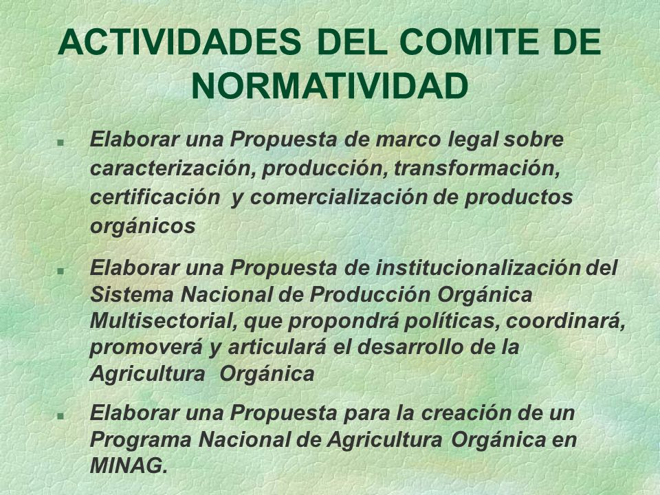 ACTIVIDADES DEL COMITE DE NORMATIVIDAD