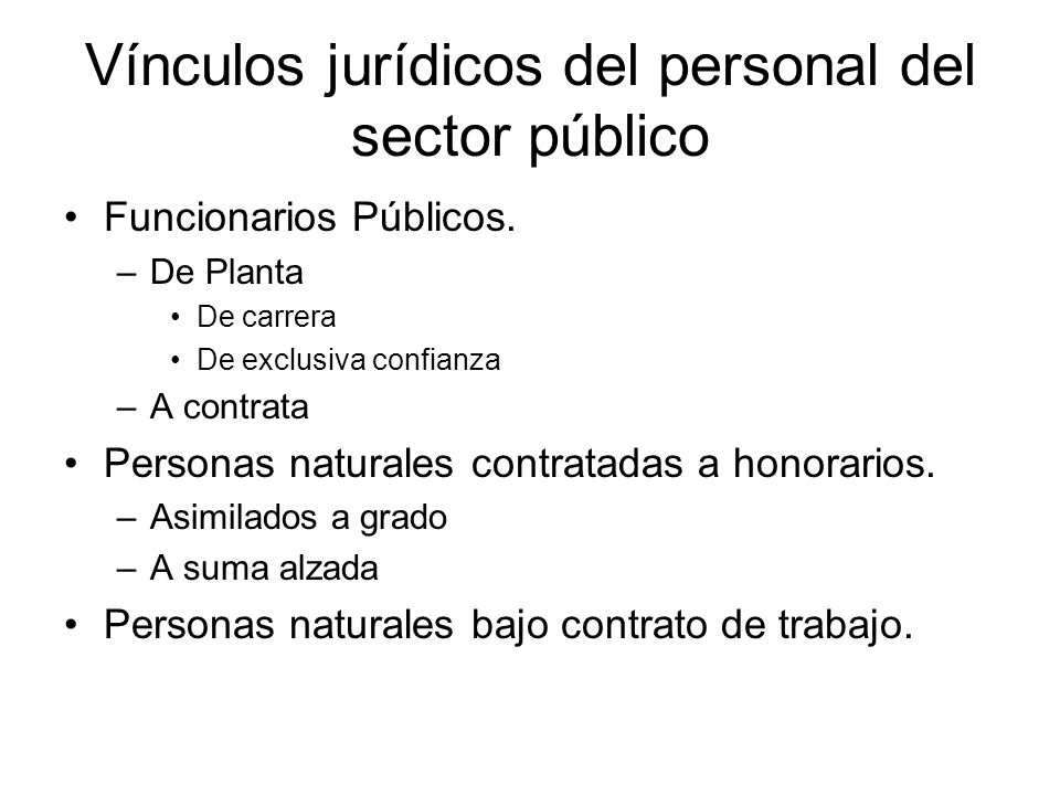 Vínculos jurídicos del personal del sector público
