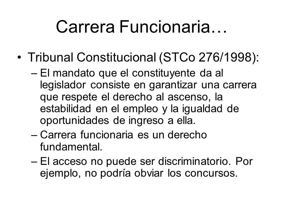 Carrera Funcionaria… Tribunal Constitucional (STCo 276/1998):