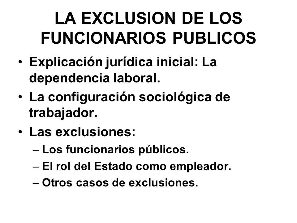 LA EXCLUSION DE LOS FUNCIONARIOS PUBLICOS