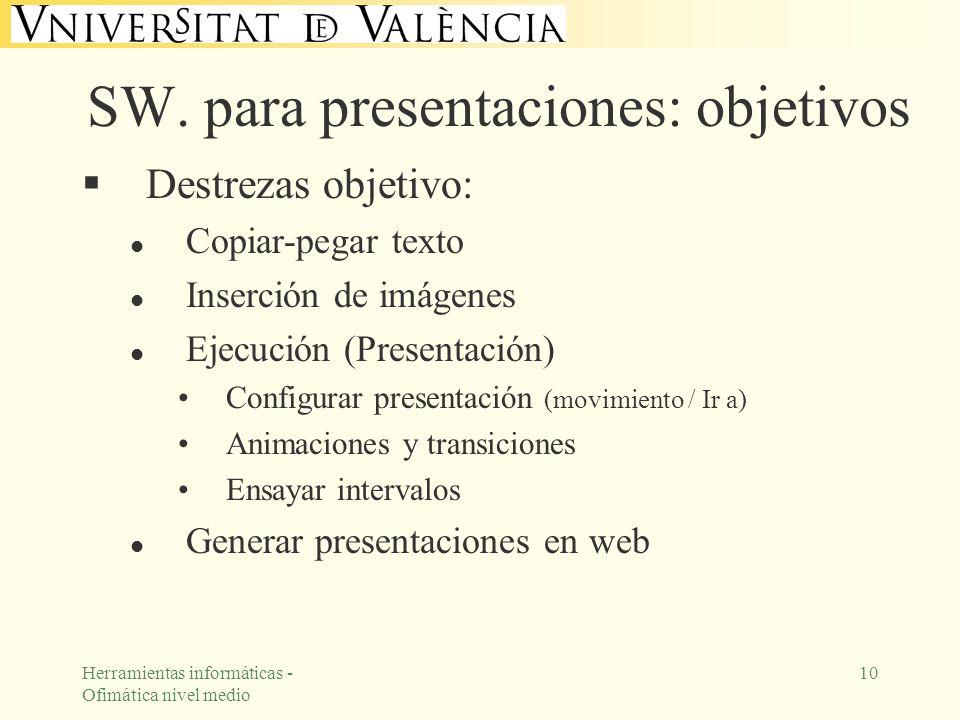 SW. para presentaciones: objetivos