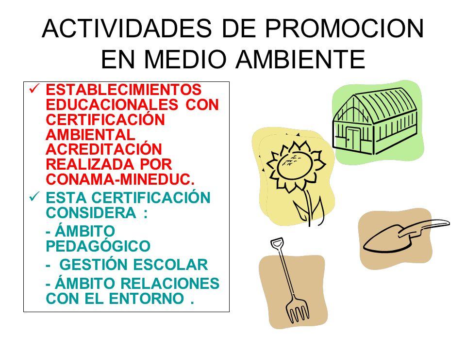 ACTIVIDADES DE PROMOCION EN MEDIO AMBIENTE
