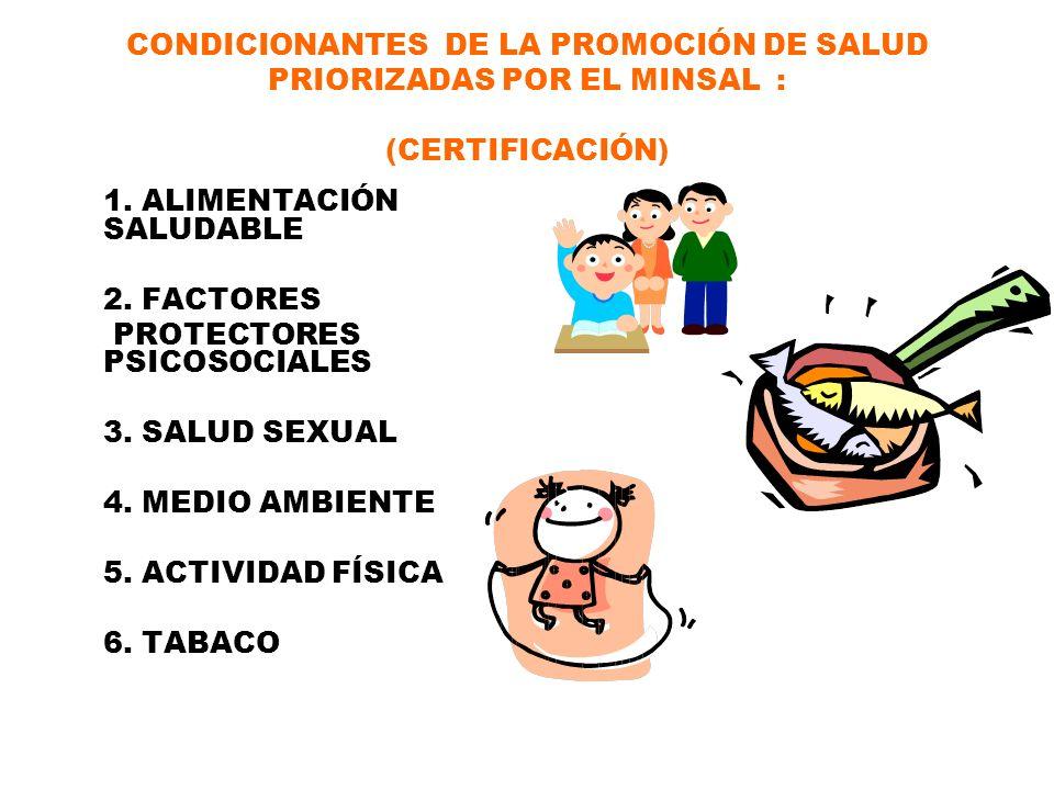 CONDICIONANTES DE LA PROMOCIÓN DE SALUD PRIORIZADAS POR EL MINSAL : (CERTIFICACIÓN)