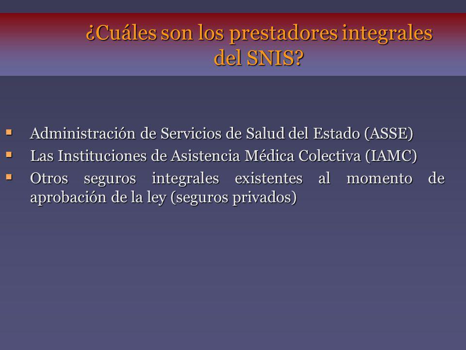 ¿Cuáles son los prestadores integrales del SNIS