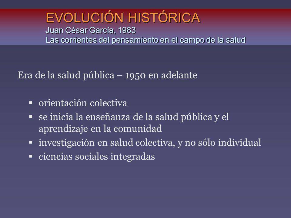 EVOLUCIÓN HISTÓRICA Juan César García, 1983 Las corrientes del pensamiento en el campo de la salud