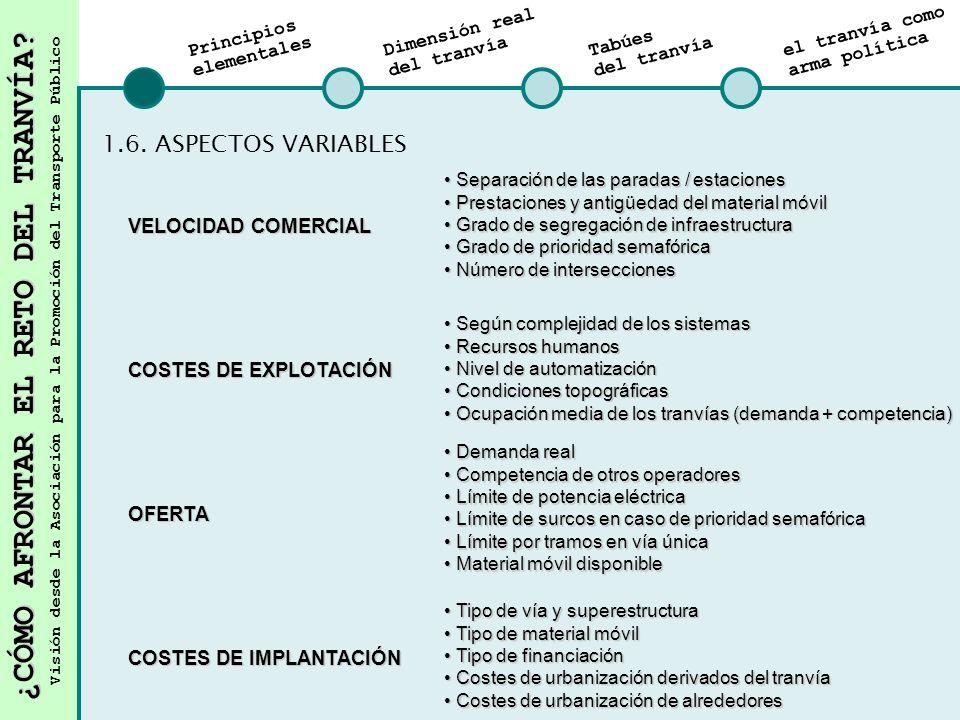 1.6. ASPECTOS VARIABLES VELOCIDAD COMERCIAL COSTES DE EXPLOTACIÓN