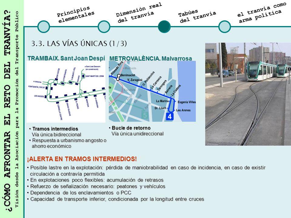 3.3. LAS VÍAS ÚNICAS (1/3) ¡ALERTA EN TRAMOS INTERMEDIOS!