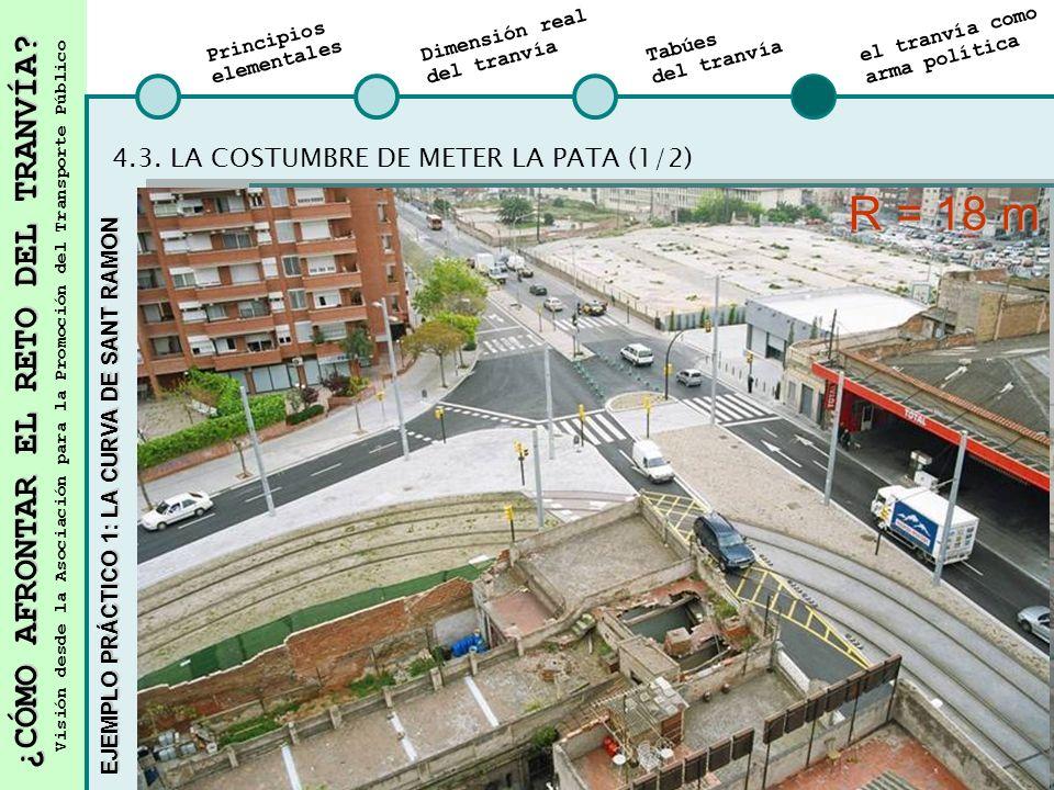 R = 18 m 4.3. LA COSTUMBRE DE METER LA PATA (1/2) Traslado parada P-11