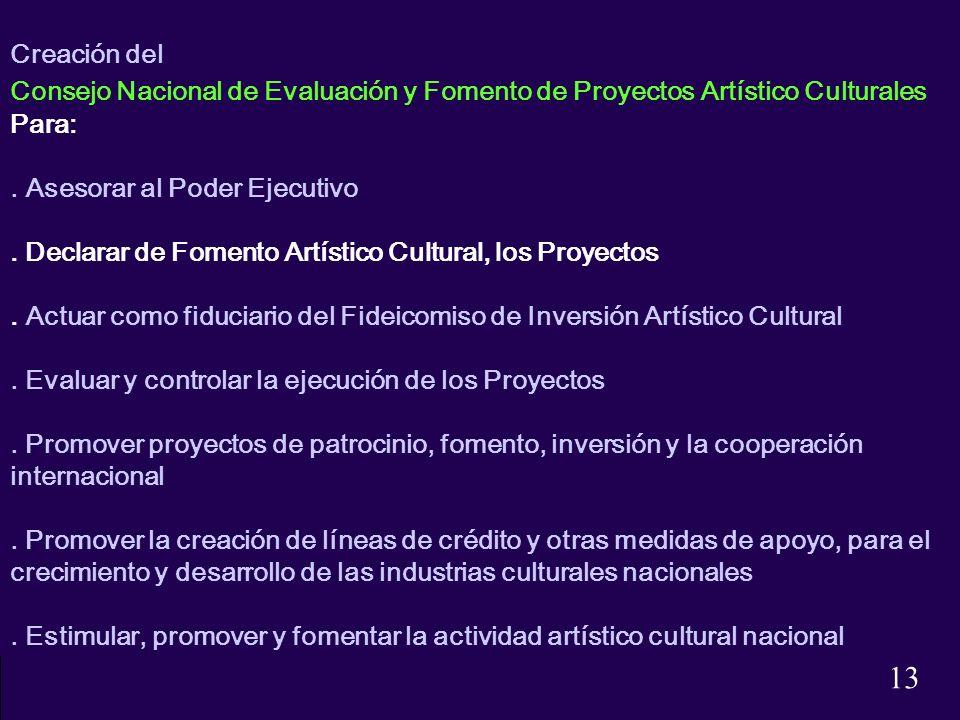 Creación del Consejo Nacional de Evaluación y Fomento de Proyectos Artístico Culturales. Para: . Asesorar al Poder Ejecutivo.