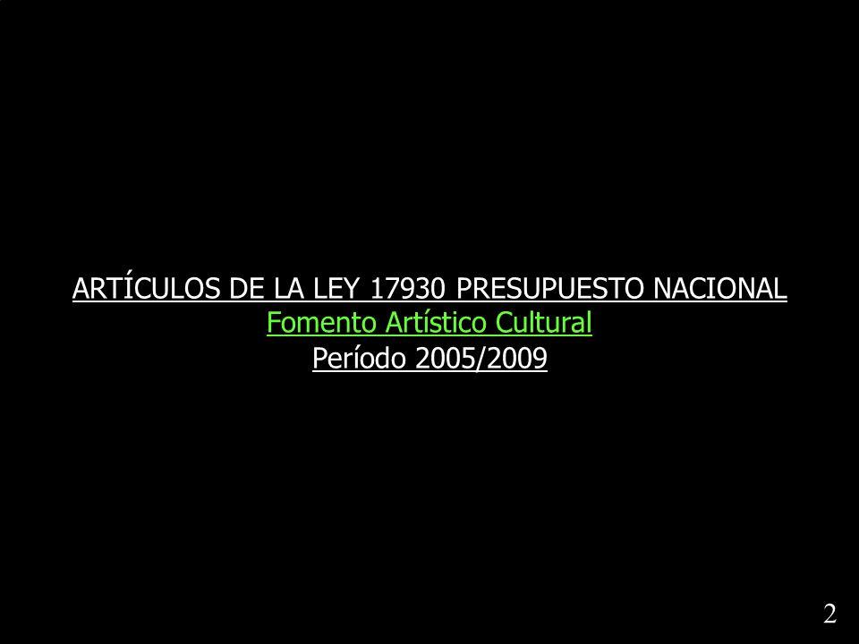 ARTÍCULOS DE LA LEY 17930 PRESUPUESTO NACIONAL