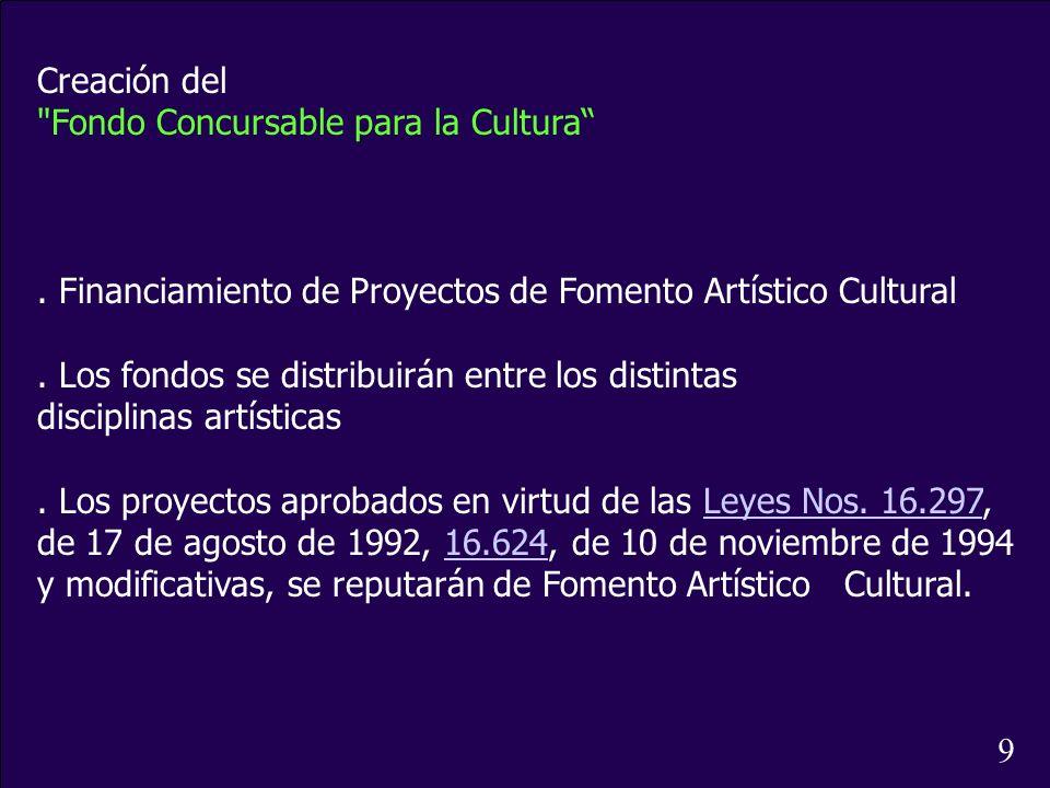 Creación del Fondo Concursable para la Cultura . Financiamiento de Proyectos de Fomento Artístico Cultural.